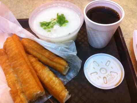hing won pork congee, fried dough - © DirtCheapNYC.com
