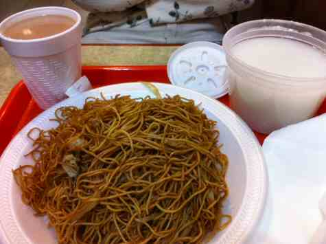 hing won hk style fried noodles and plain congee - ©DirtCheapNYC.com