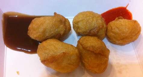 hing won fried fish balls with sauce - © DirtCheapNYC.com